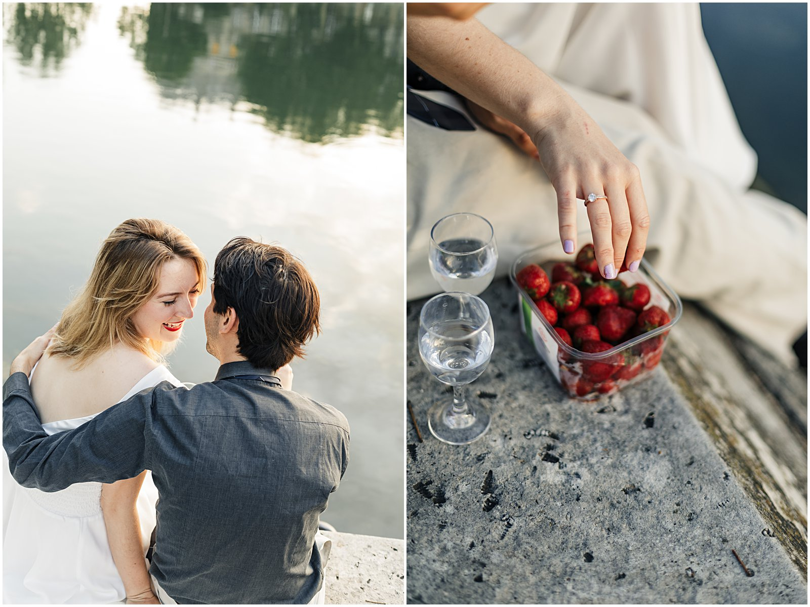 sunrise anniversary photoshoot along the seine river in Paris hands picking and eating strawberries