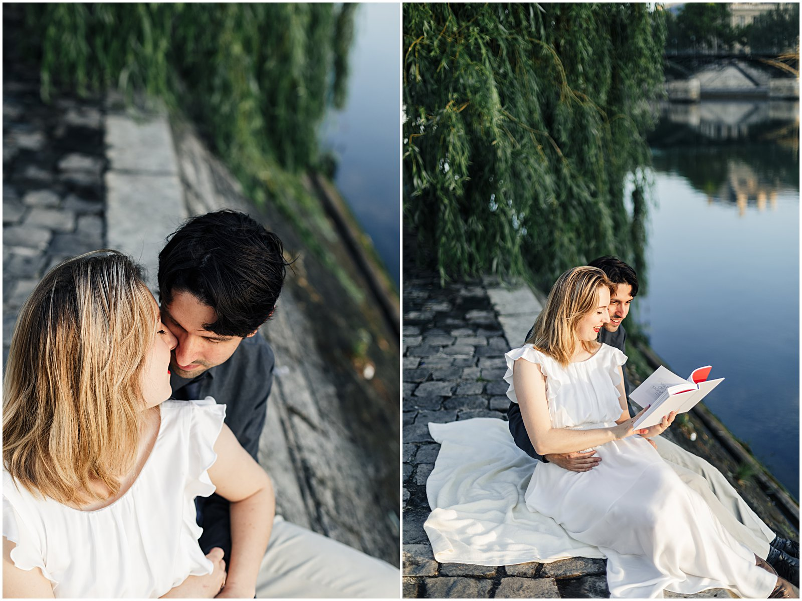 married couple photographed reading along the Seine at anniversary photoshoot