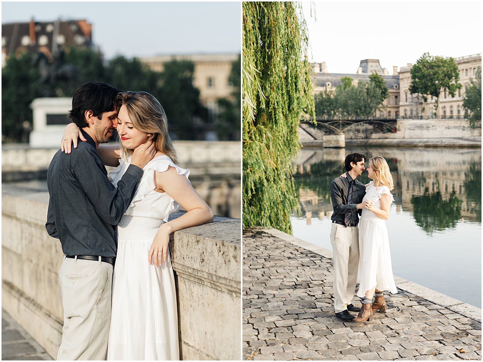 couple dancing along the Seine in Paris Pont Neuf bridge Photo session