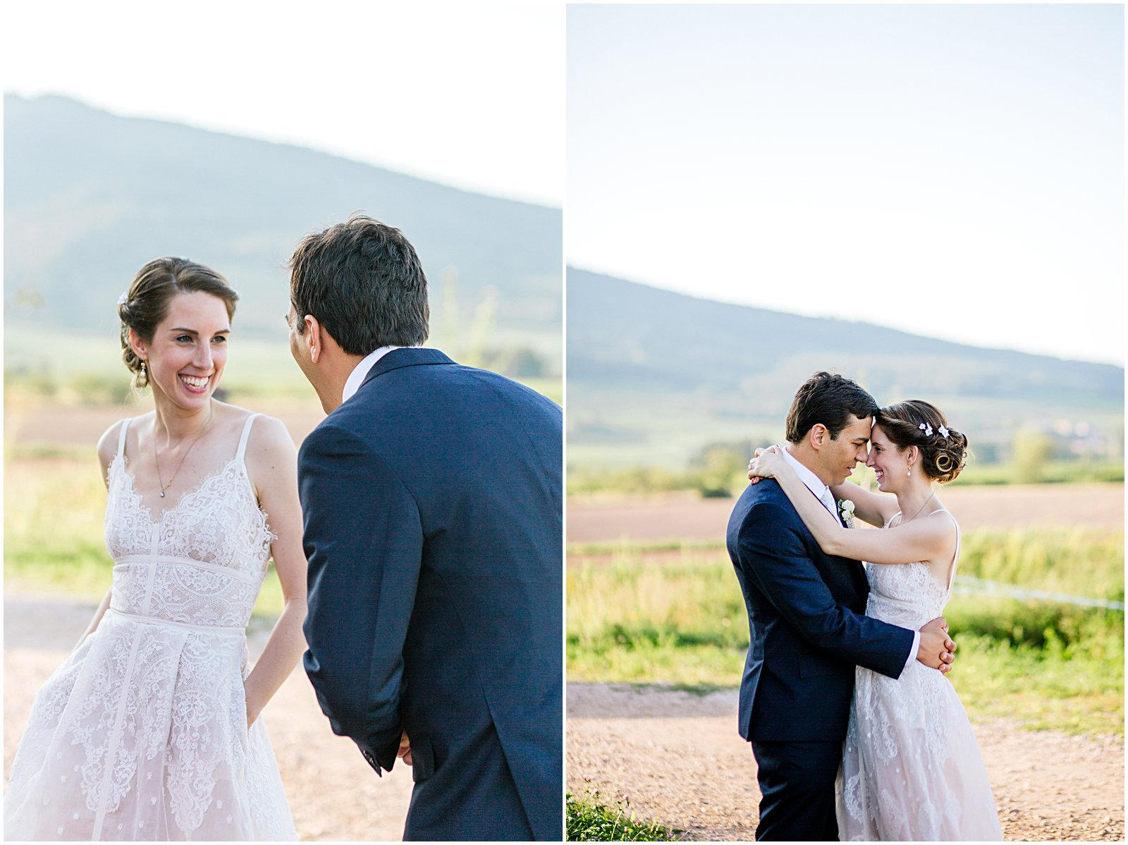 bride and groom at Achilles Domaine vineyards photographed by wedding photographer Helena Woods