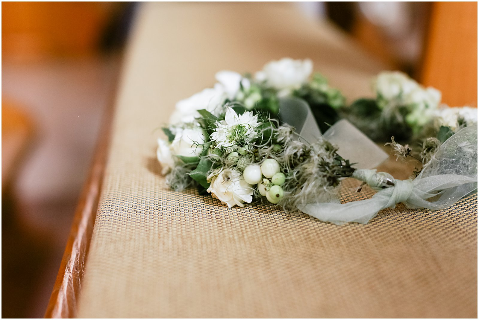 flower wedding crown at church photographed by Helena Woods