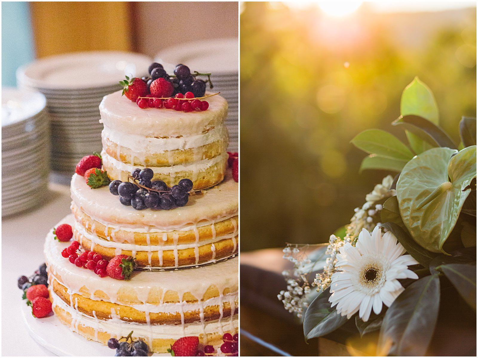 wedding cake berries with golden sunset flower by Helena Woods wedding Photography