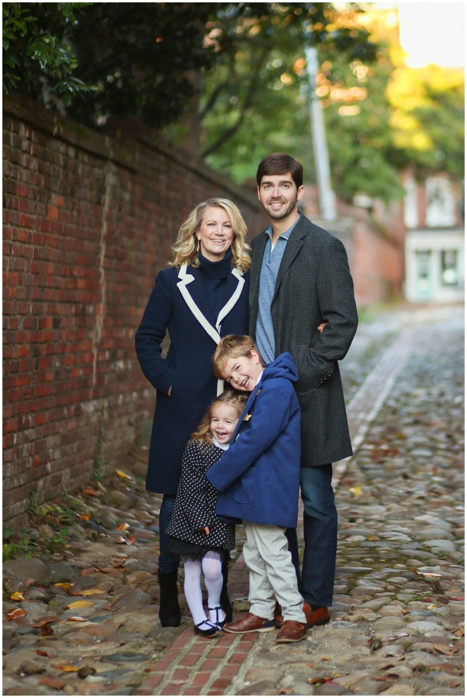 Alexandria VA Family photographer photographs on Wales Alley in Old Town
