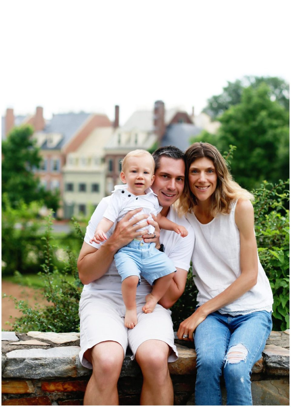 family photo at Windmill Hill Park in Old Town Alexandria with VA family photographer