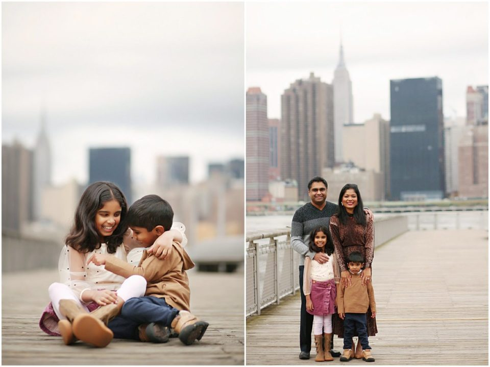 family photos at Gantry Plaza State Park in NYC LIC