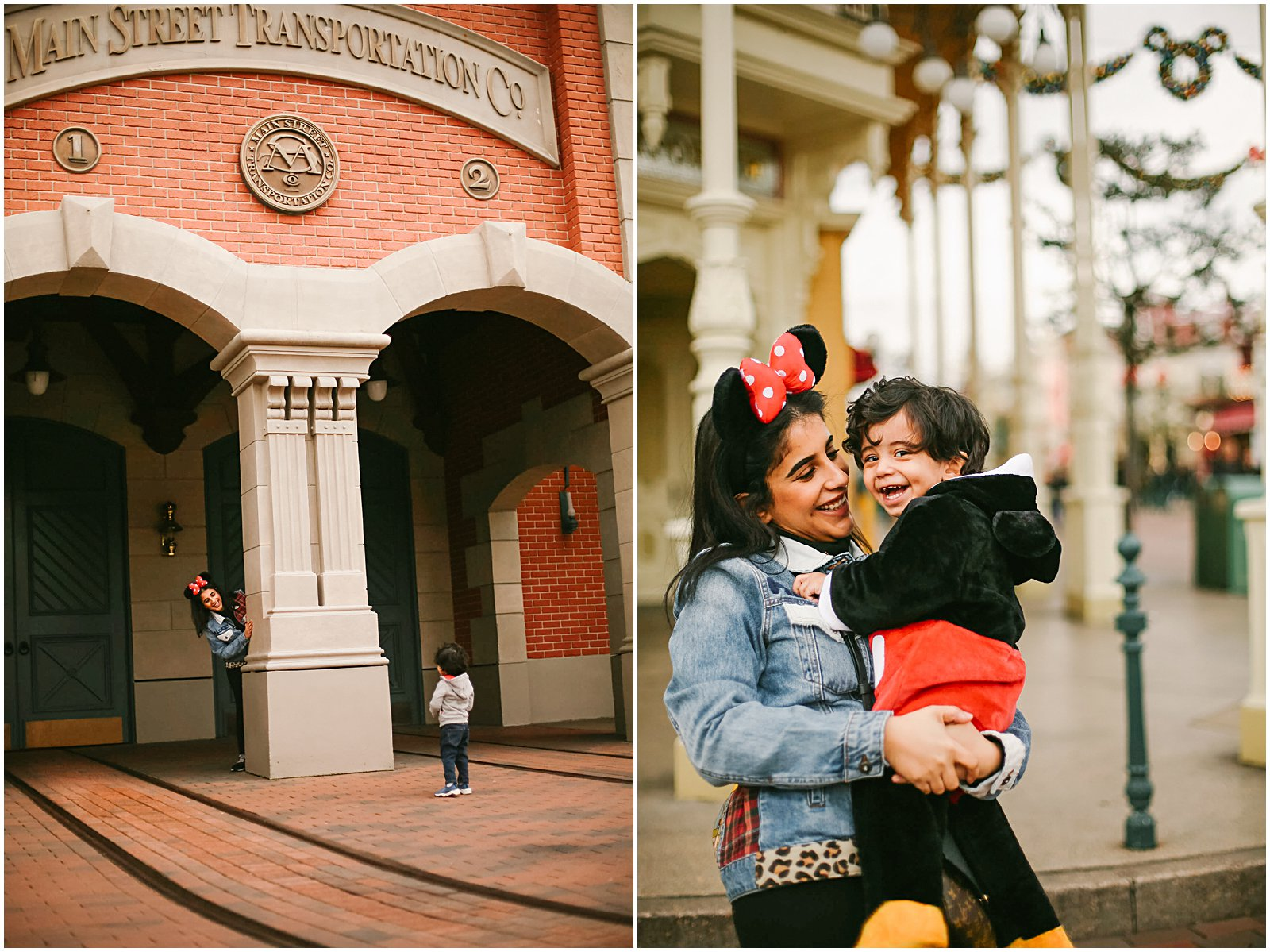Disneyland Paris Photographer Helena Woods photographs mom and son on Main Street