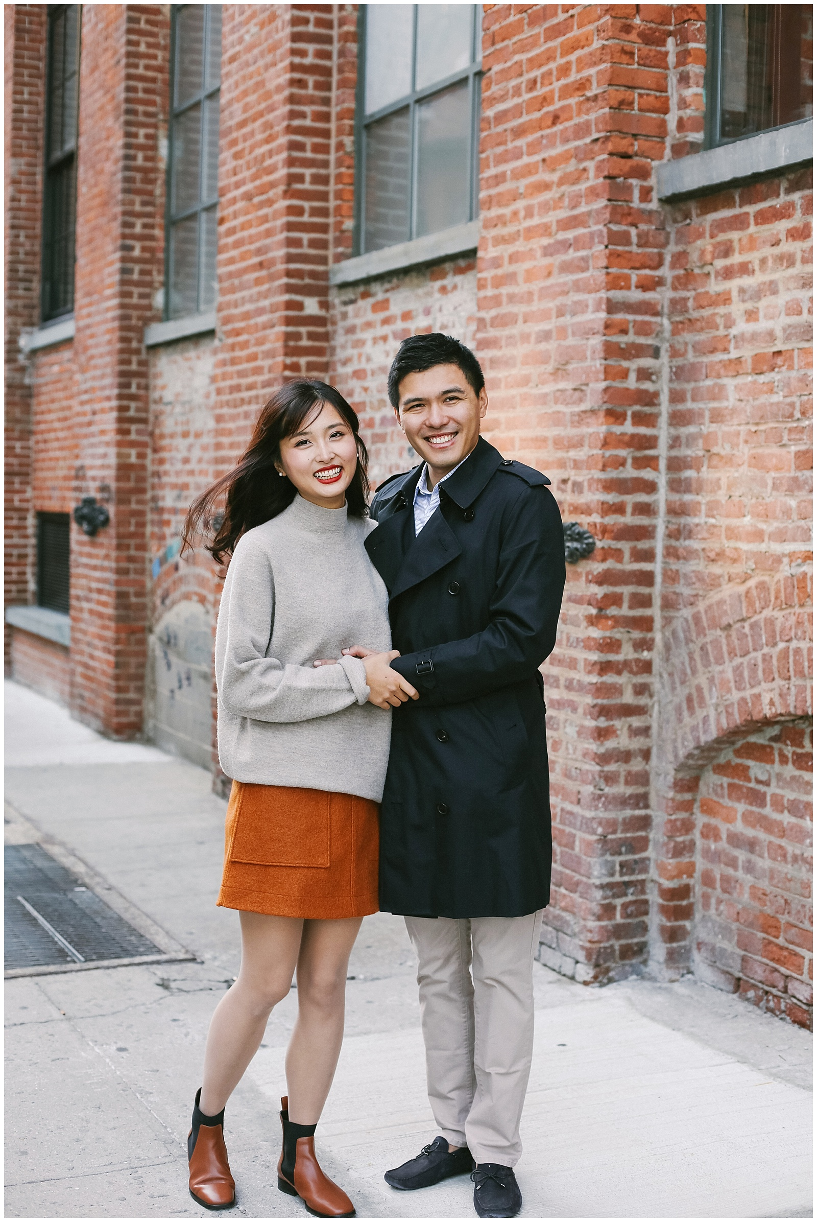 NYC engagement photographer photographs couple in Brooklyn DUMBO on Water Street