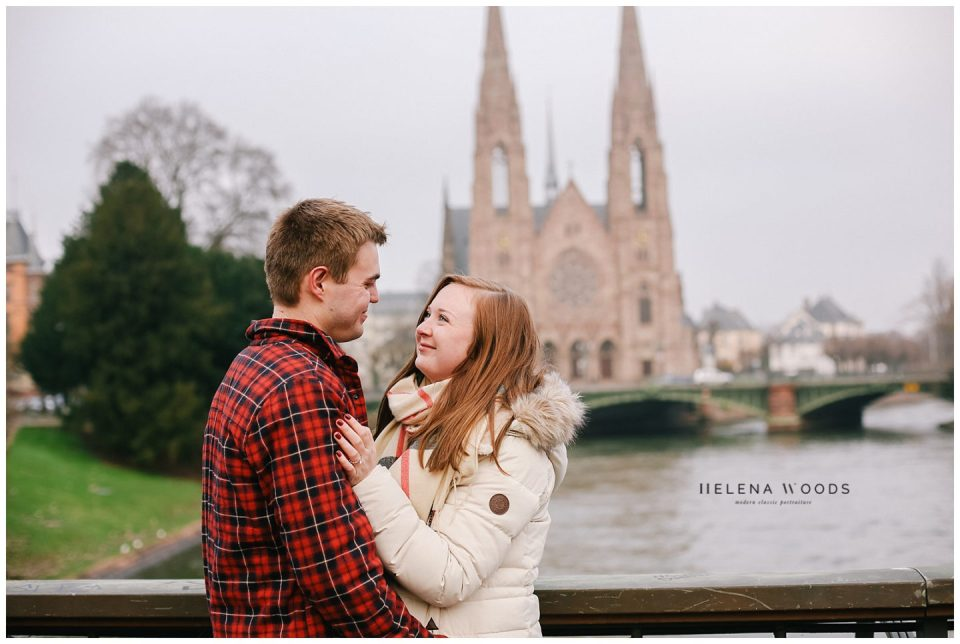 couples celebrates engagement with photographer in Strasbourg France