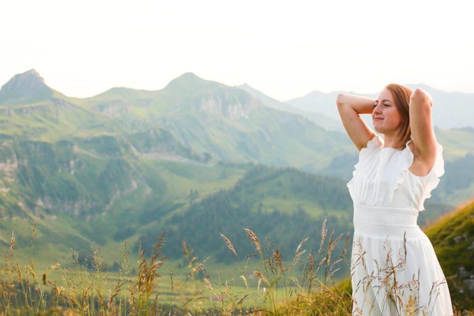 woman in white dress in Kanisfluh Austria