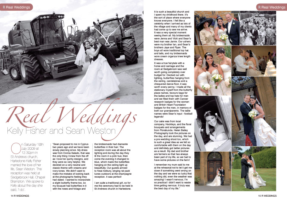 R Weddings magazine article - Sedgebrook Hall