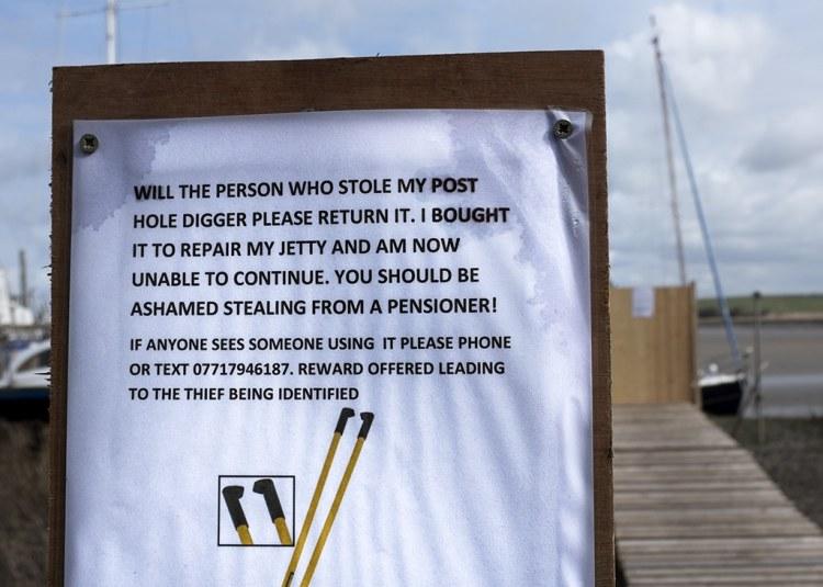 pensioner theft sign