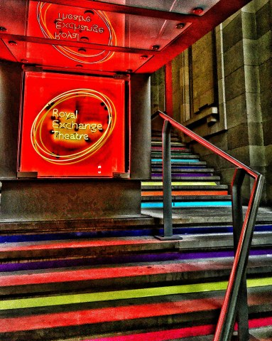 Royal Exchange Theatre Entrance Manchester steps stairs colour
