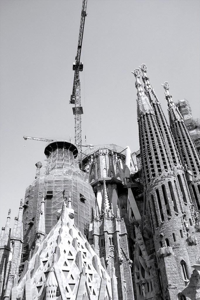 Towers and a Crane Sagrada Familia Gaudi Barcelona