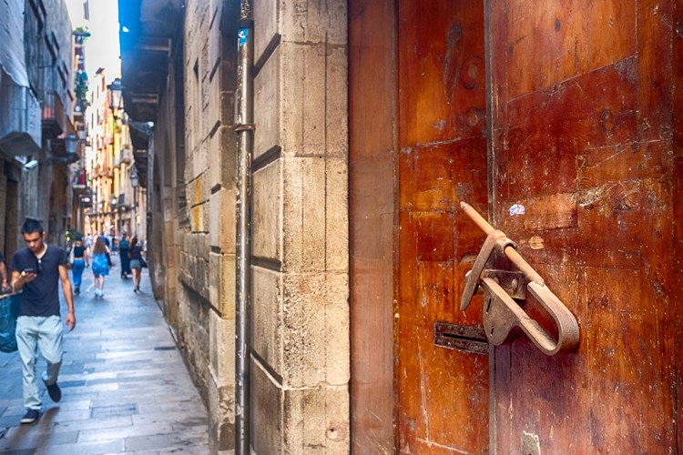 Brown Door in Gothic Quarter