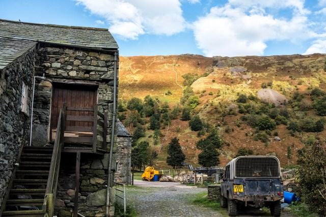 Land Rover and Barn Borrowdale farm Seathwaite