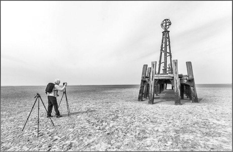 St Annes, jetty, monochrome, black&white