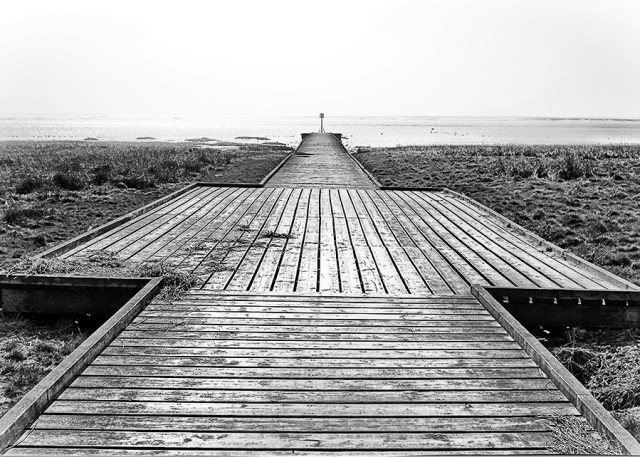 Lytham Jetty perspective monochrome