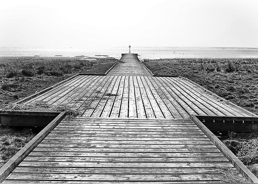 Lytham Jetty perspective monochrome
