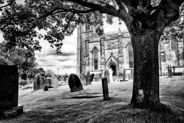 Tree Framing Church monochrome Black&white gravestones churchyard