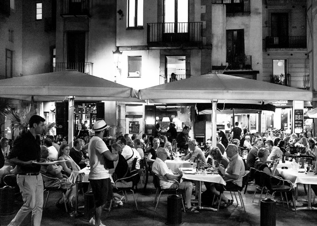 Evening meal low key Barcelona al fresco Gothic Quarter dinner