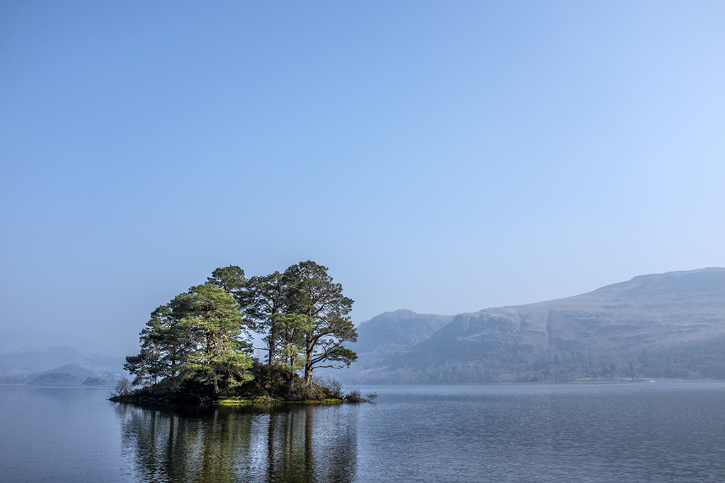 Island in the Sun, Derwentwater, Borrowdale,Cumbria, Lake District, minimalist,