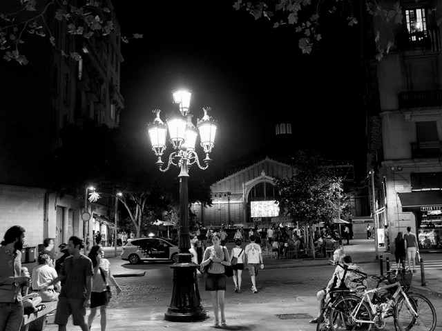 Night Lights, Big City, barcelona, monochrome,