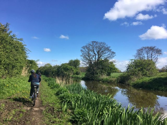 Cyclists on Towpath Lancaster Canal