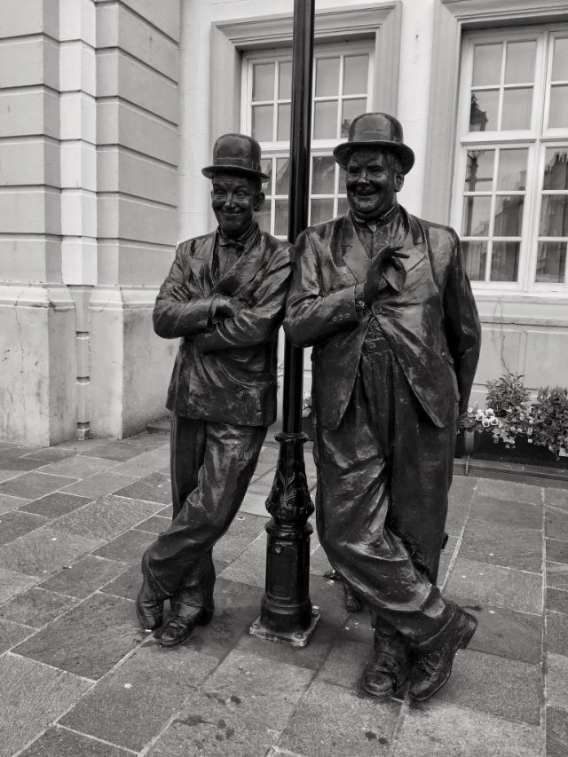 Stan & Ollie Laurel & Hardy Ulverston lamppost Monochrome oddball