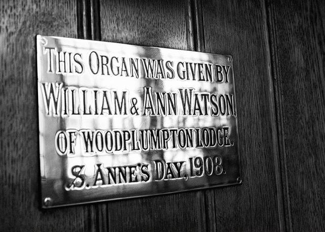 Organ Plaque St Anne's church Woodplumpton monochrome alphabet