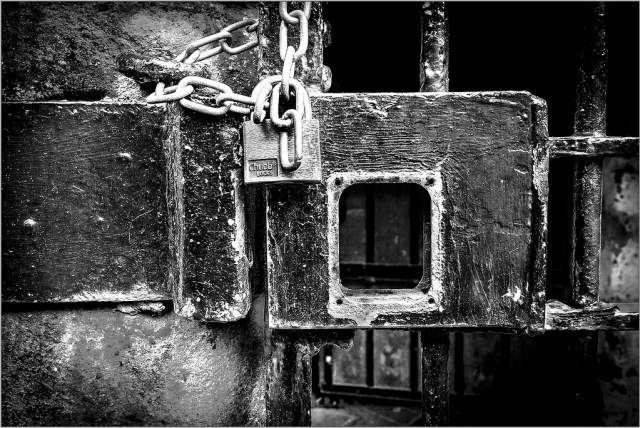 Under Lock and Key Lancaster Castle monochrome