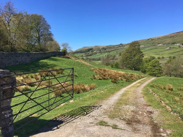 An Open Gate Crackpot village Yorkshire Dales tourism field landscape