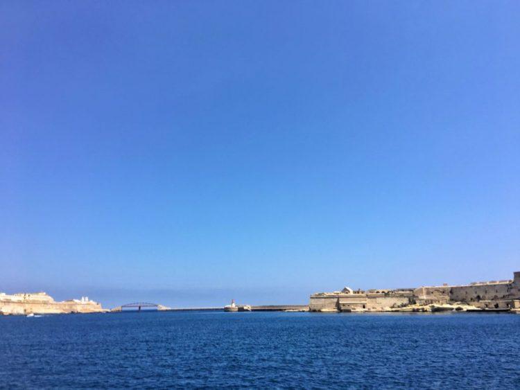 Marsamxett Harbour valletta Malta blue sea sky bridge Fort St Elmo