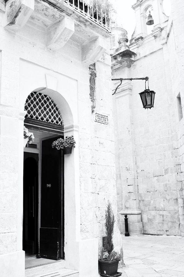 Street Corner in St Publius Square Mdina Malta monochrome Black&White challenge