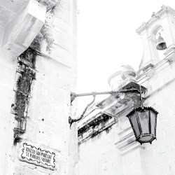 Lantern in St Publius Square Mdina Malta Silent City monochrome