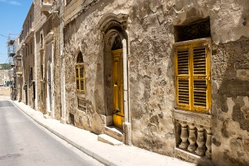 Yellow Door and Shutters in il Birgu Valletta Malta