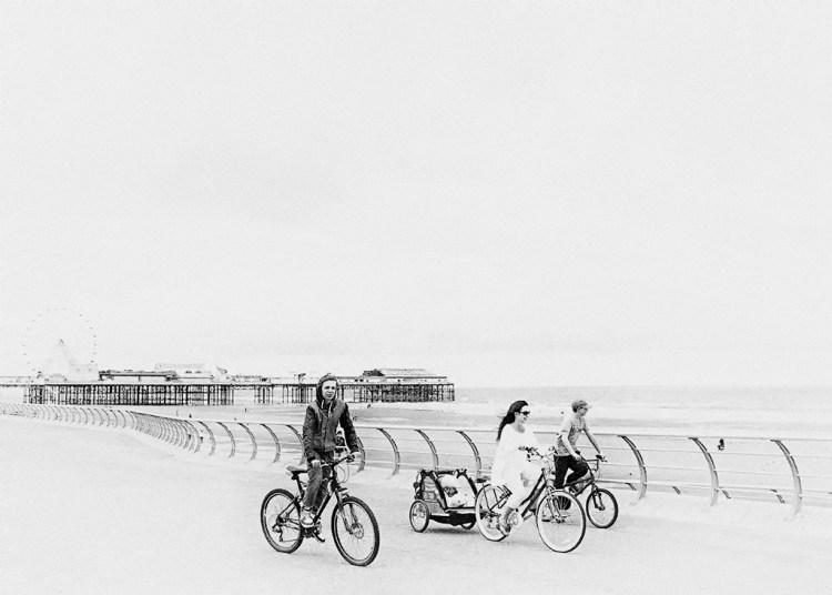 wheels monochrome family bicycles Blackpool prom