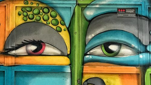 eyes Barcelona Gothic Quarter doors graffiti