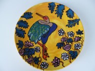 Painted ceramic plate inspired by Japanese designs