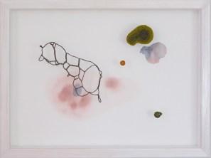 Tillvaro, tråd, organzaväv och akvarell, 31x41 cm