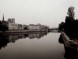 Another Parisian holiday shot from an unforgettable experience - I took this on one of the many, MANY bridges of the city when the weather was so still the Seine river made an excellent looking glass. It was a little overcast which left the colours a little lacking so I decided to go the whole black-and-white way!