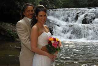 Waterfalls are great locations for Helen Ga Weddings