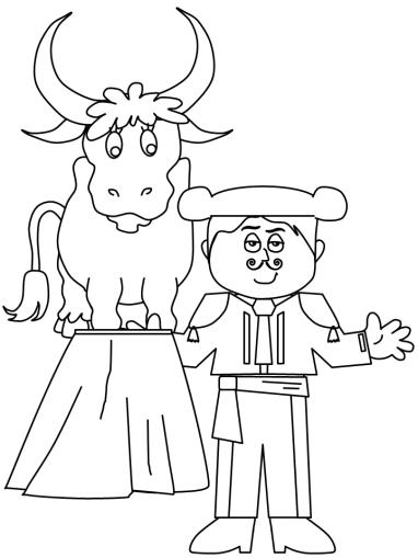 matador-and-bull-colouring-page