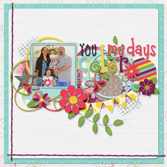 You Color My Day | Digital Scrapbook layout designed by Helen Gullett