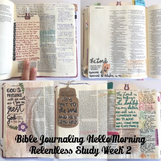 Bible Journaling HelloMornings Week 2 | Relentless Study | #hellomornings #RelentlessStudy #biblejournaling #journalingbible #illustratedfaith #bibleartjournaling