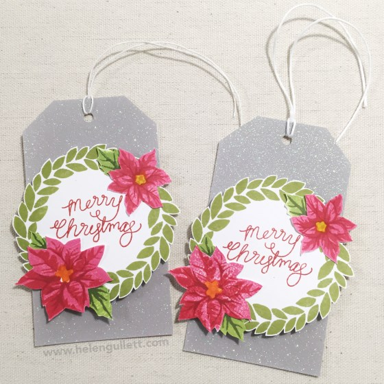 Merry Wreath Tags | by Helen Gullett #25daysofchristmastags2015 #holidaytag #christmastag #ctmh #mymonthlyhero #heroarts #tag