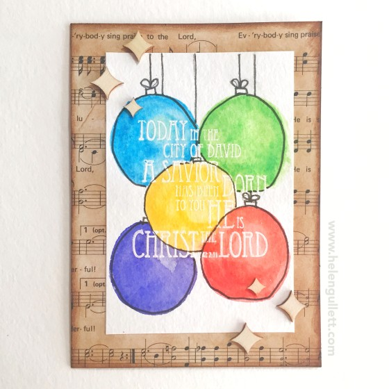 Heat-embossed resist and Watercolored Ornaments | a card by Helen G. http://wp.me/p1DmW0-26t #cardmaking #handmadecard #christmascard #heatembossing #watercoloring
