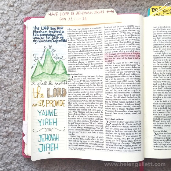 Genesis 22:1-14 | Have Hope In The Jehovah Jireh #hope #documentedfaith #illustratedfaith #biblejournaling #journalingbiblecommunity