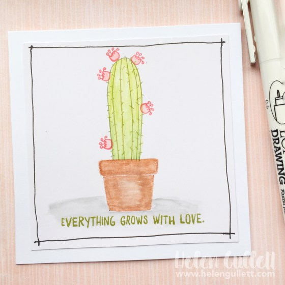 Watercolored Cactus Mini Note Card - New Close To My Heart Blog Hop featuring watercolor pencils and paints - 30 projects to inspire you to create! http://wp.me/p1DmW0-2eT #ctmh #watercoloring #handmadecard #cardmaking #notecard #papercrafting #diy
