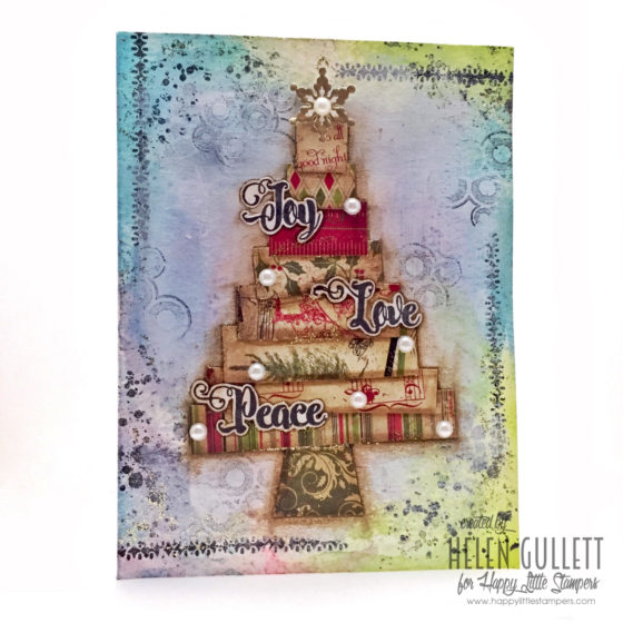 Mixed Media Card - Joy, Love, Peace Tree