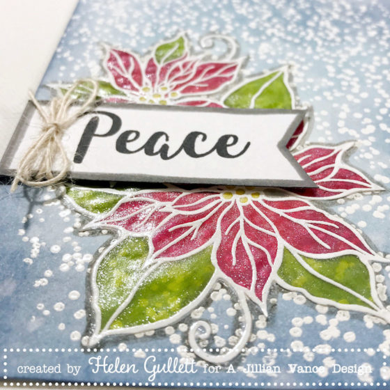 CAS Mixed Media Card: Poinsettia Peace with A Jillian Vance Design